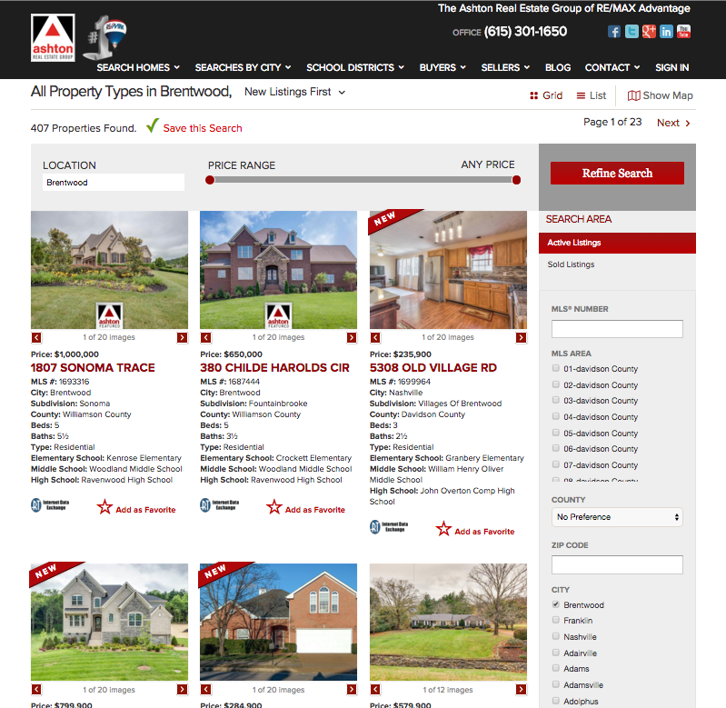 Full Page Featured Listings